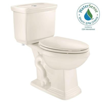 2-piece 1.0 GPF/1.28 GPF Dual Flush Elongated Toilet in Biscuit