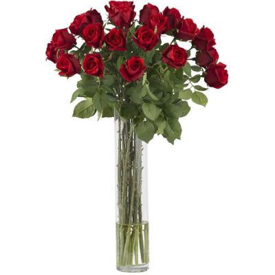 32 in. H Red Rosebud with Cylinder Silk Flower Arrangement
