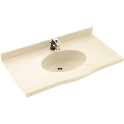 Europa 43 in. W x 22-1/2 in. D x 11-38 in. H Solid-Surface Vanity Top in Pebble with Pebble Basin
