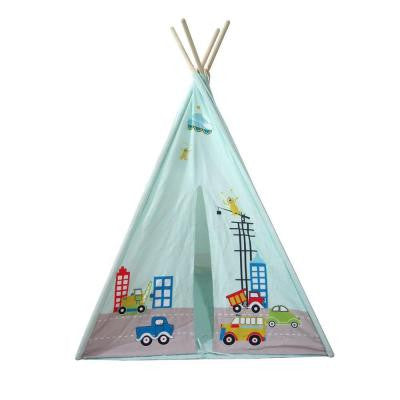 61 in. 4 Wall Teepee Tent with Cars Pattern