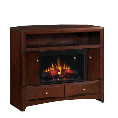 Delray 47.5 in. Convertible Media Console Electric Fireplace in Roasted Walnut