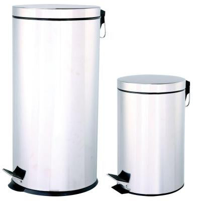 40 liter and 12 liter Stainless Steel Round Touchless Step-On Trash Can Combo Pack