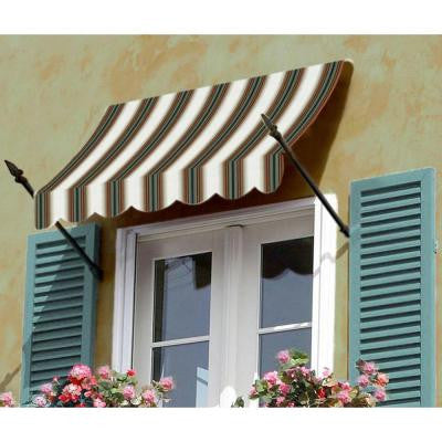 12 ft. New Orleans Awning (44 in. H x 24 in. D) in Burgundy/Forest/Tan Stripe