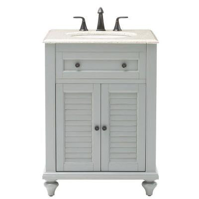 Hamilton 25 in. W Shutter Vanity in Grey with Granite Vanity Top in Champagne