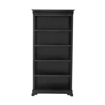 Louis Philippe 36 in. W 5-Shelf Open Bookcase in Black