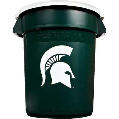 BRUTE NCAA 32 Gal. Michigan State Round Trash Can with Lid