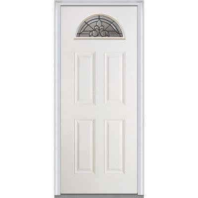 30 in. x 80 in. Fontainebleau Decorative Glass Fan Lite 4-Panel Primed White Fiberglass Smooth Prehung Front Door