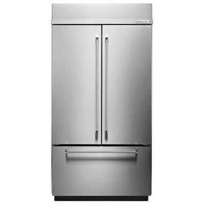 42 in. W 24.2 cu. ft. Built-In French Door Refrigerator in Stainless Steel
