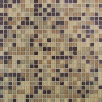 Self Adhesive Beige 12 in. x 12 in. x 5 mm Glass Mosaic Tile