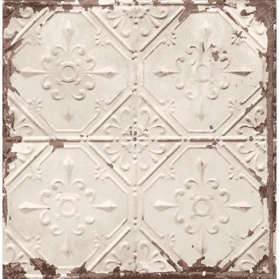 8 in. W x 10 in. H Beige Tin Ceiling Distressed Tiles Wallpaper Sample