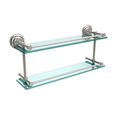 Que New 22 in. W Double Glass Shelf with Gallery Rail in Satin Nickel