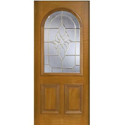 36 in. x 80 in. Mahogany Type Round Top Glass Prefinished Golden Oak Beveled Brass Solid Wood Front Door Slab