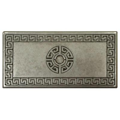 Contempo Greek Key Deco Pewter 6 in. x 3 in. Metallic Wall Trim Tile