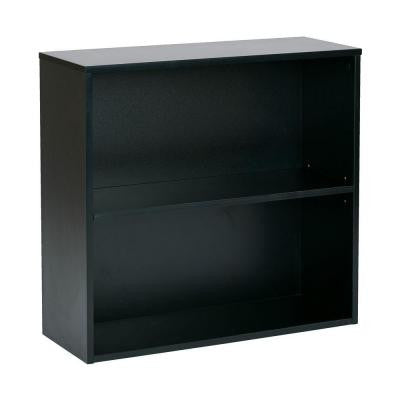 Prado 30 in. 2-Shelf Bookcase with 3/4 in. Shelves in Black