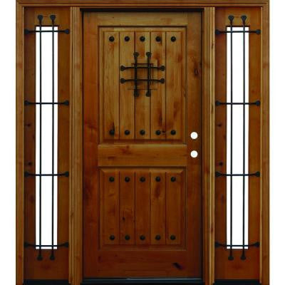 66 in. x 80 in. Mediterranean Rustic 2-Panel V-Groove Stained Knotty Alder Wood Prehung Front Door with 12 in. Sidelites
