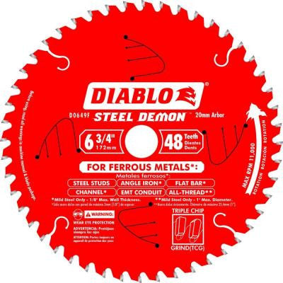 6-3/4 in. x 48-Tooth x 20mm Arbor Steel Demon Ferrous Metal Cutting Saw Blade