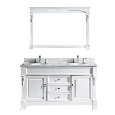 Huntshire 59.3 in. W x 22.5 in. D x 36 in. H Vanity in White with Marble Vanity Top in White with Basin and Mirror