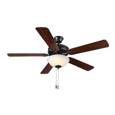 HomeBuilder II 52 in. Bronze Ceiling Fan with American Walnut Blades