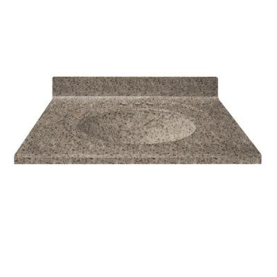 37 in. Cultured Granite Vanity Top in Mountain Color with Integral Backsplash and Mountain Bowl