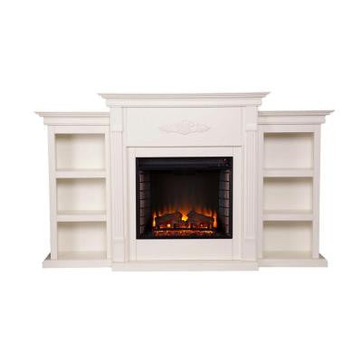 Jackson 70.25 in. Freestanding Media Electric Fireplace in Ivory with Bookcases