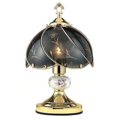 14.25 in. Floral Brushed Gold Touch Lamp