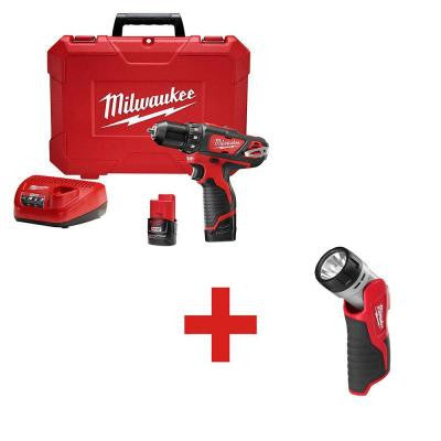 M12 12-Volt Lithium-Ion 3/8 in. Cordless Drill/Driver Kit with M12 12-Volt Battery Work Light