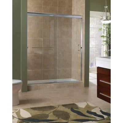 Marina 48 in. x 76 in. H. Semi-Framed Sliding Shower Door in Brushed Nickel with 3/8 in. Clear Glass