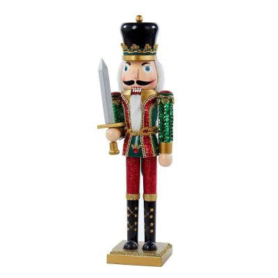 15 in. Wooden Nutcracker with Sequins and Glitter