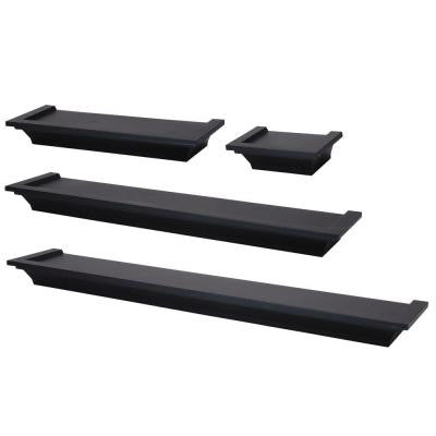 nexxt Classic 24 in. L Wall Ledge Set in Black (4-Piece)