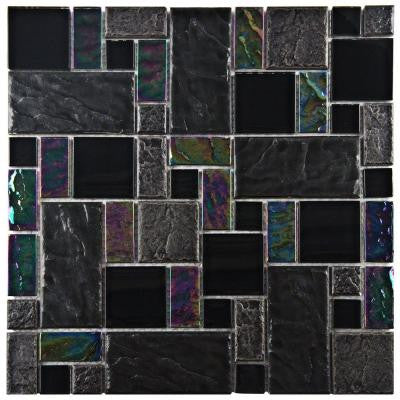 Garden Versailles Iris 11-3/4 in. x 11-3/4 in. x 8 mm Ceramic and Glass Wall Tile