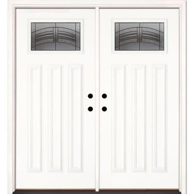74 in. x 81.625 in. Rochester Patina Craftsman Unfinished Smooth Fiberglass Double Prehung Front Door