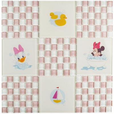Baby Pink 11-3/4 in. x 11-3/4 in. x 5 mm Glass Mosaic Tile
