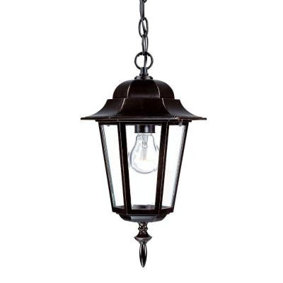 Camelot Collection 1-Light Outdoor Architectural Bronze Hanging Lantern