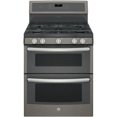 Profile 30 in. 6.8 cu. ft. Double Oven Gas Range with Self-Cleaning Convection Oven (Lower Oven) in Slate