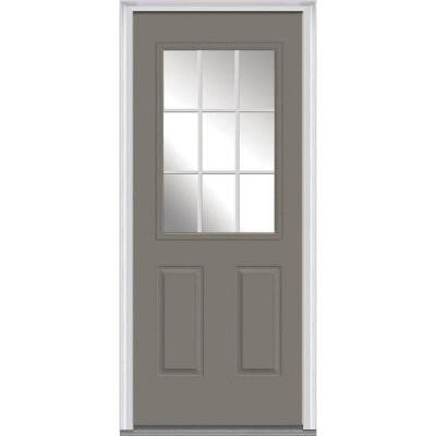 30 in. x 80 in. Classic Clear Glass GBG 1/2-Lite Painted Majestic Steel Prehung Front Door