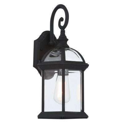 Wall Mount 1-Light Outdoor Black Coach Lantern with Clear Glass