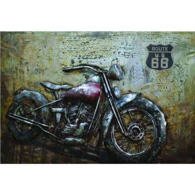 "16 in. x 24 in. ""Motorcycle Moments"" Painted Metal Wall Art"