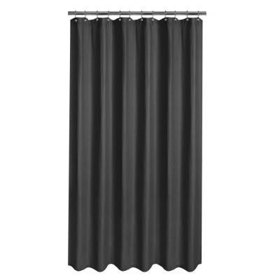 Luxury Spa Waffle Fabric Shower Curtain in Black