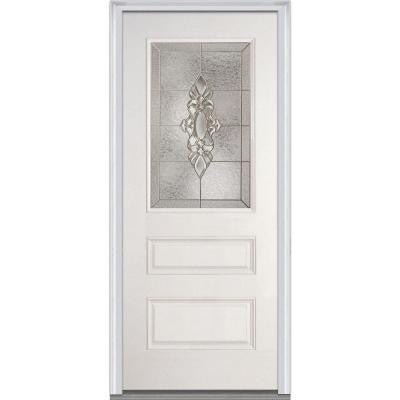 36 in. x 80 in. Heirloom Master Decorative Glass 1/3 Lite 2-Panel Primed White Fiberglass Smooth Prehung Front Door