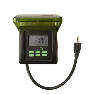 7 Day Digital Outdoor Heavy Duty Timer 2-Outlet - Black