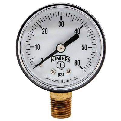 PEM Series 2 in. Plastic Case Brass Internals Pressure Gauge with 1/4 in. NPT LM and Range of 0-60 psi Only