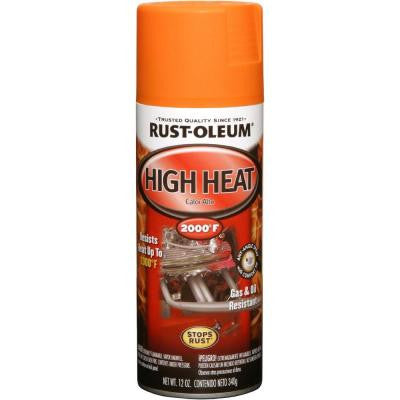 12 oz. High Heat Enamel Flat Orange Spray (Case of 6)