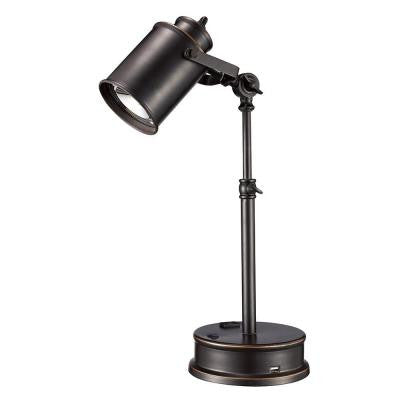 19.75 in. Adjustable Oil Rubbed Bronze LED Desk Lamp with Built-In USB Socket