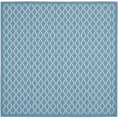 Courtyard Blue/Beige 7 ft. 10 in. x 7 ft. 10 in. Square Indoor/Outdoor Area Rug