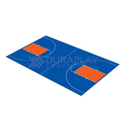 44 ft. 3 in. x 75 ft. 6 in. Royal Blue and Orange Full Court Basketball Kit