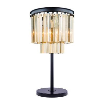 Sydney 26 in. Mocha Brown Table Lamp with Golden Teak Smoky Crystal