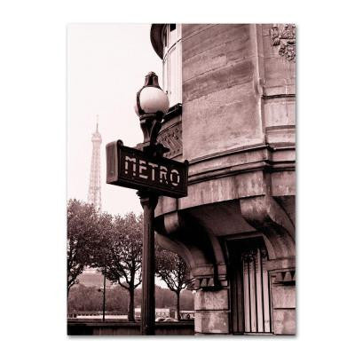 32 in. x 24 in. Metro and Eiffel Canvas Art