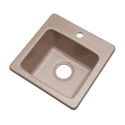 Westminster Dual Mount Composite Granite 16 in. 1-Hole Single Bowl Bar Sink in Desert Sand