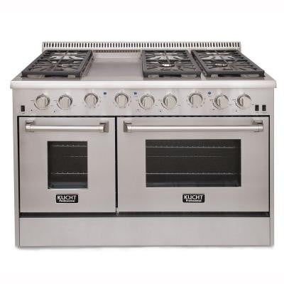 Pro-Style 48 in. 6.7 cu. ft. Propane Gas Range with Sealed Burners, Griddle and Convection Oven in Stainless Steel