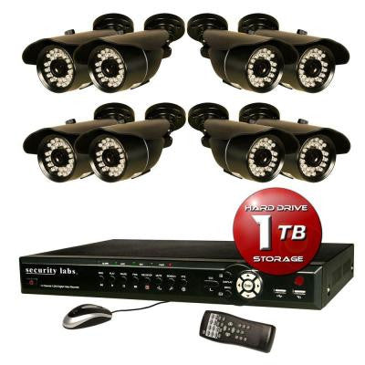 16 CH Surveillance System with H.264 / Smartphone DVR, 1TB HDD, Alarm E-mail and (8) 700TVL Weatherproof IR Cameras